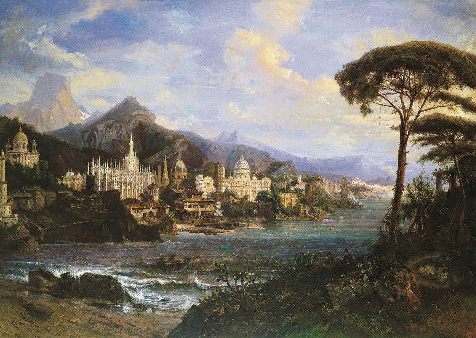 TETAR Van Elven Petrus Henricus Theodor, Veduta fantastica dei principali monumenti d Italia, 1858, Genova, Galleria d arte moderna